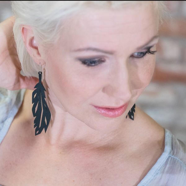 Feather Earrings, black, size Large