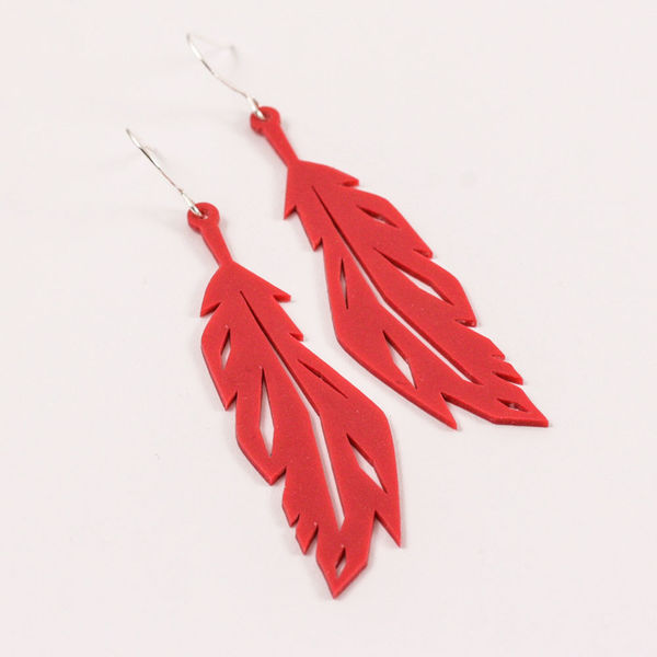 Feather Earrings Red, Medium
